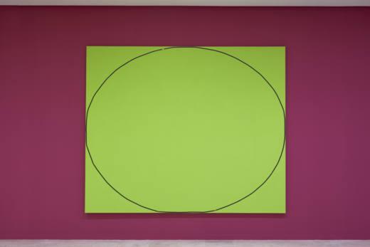 [Reflexión #2 < elipse | elipsis > campo verde] Agustín Fernández Mallo + texto AFM, 2018. Cinta de vídeo con grabación sonora adherida con barniz y acrílico sobre tela (bastidor de madera) + tarjeta memoria con grabación audio AFM). 250 x 300 cm.