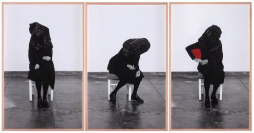 Dentro de mim, 2018. 3 fotografías b/n con tinta acrílica roja. 134 x 86 cm c/u.