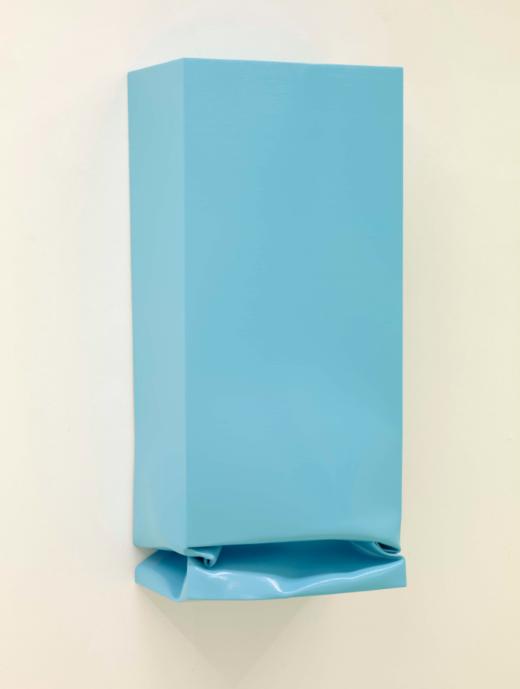 Throw IV (Light blue), 2014. Oil and acrylic on aluminium. 123 x 55 x35 cm