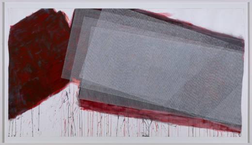 Sin título, 2017. Acrílico, gouache, laca y tinta sobre papel. 171.5 x 294,5 cm