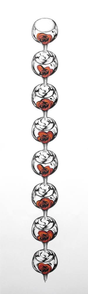 Transformada discreta. Copas de vino tinto, 2017, Ink on paper, 111,5 x 47 cm. Cortesía Ana Prada y Galería Helga de Alvear.