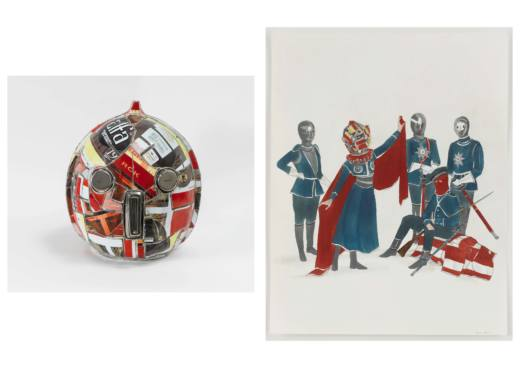 The king´s head, 2012. Escultura: cerámica y acero. 53,3 x 41,9 x 48,3 cm. Dibujo: tinta, gouache y grafito sobre papel. 35,6 x 27,9 cm