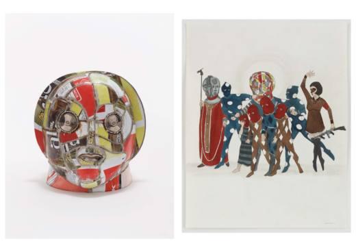 The pawn´s head, 2012. Escultura: cerámica y acero. 36,8 x 34,3 x 39,4 cm. Dibujo: tinta, gouache y grafito sobre papel. 35,6 x 27,9 cm