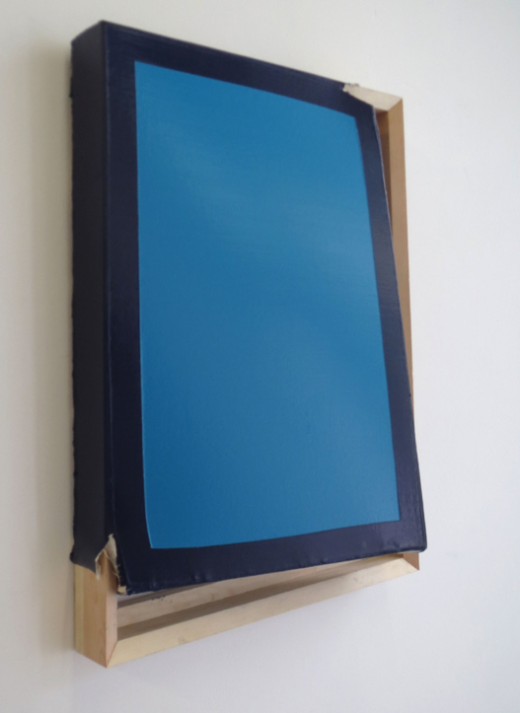 Tight (Turquoise/navy), 2014. Oil and acrylic on canvas, wood. 70 x 51 x 16 cm