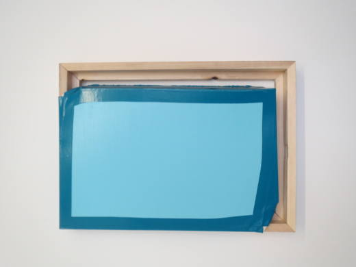 Tight (Light blue/turquoise), 2014. Oil and acrylic on canvas, wood. 70 x 50 x 12 cm