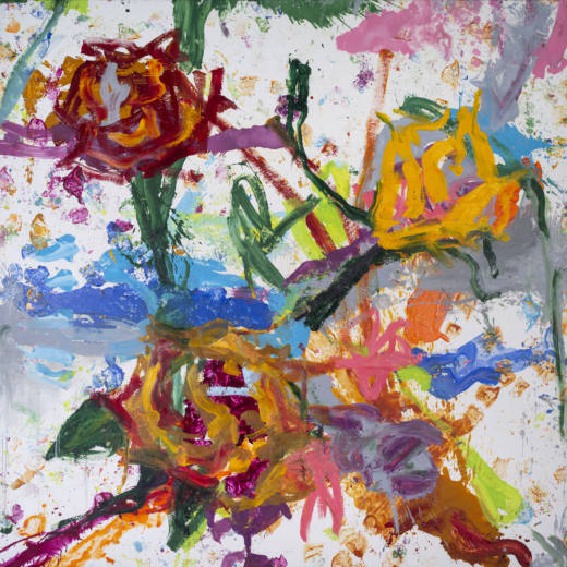 El eco y las flores, 2020. Oil on canvas, 300 x 300 cm