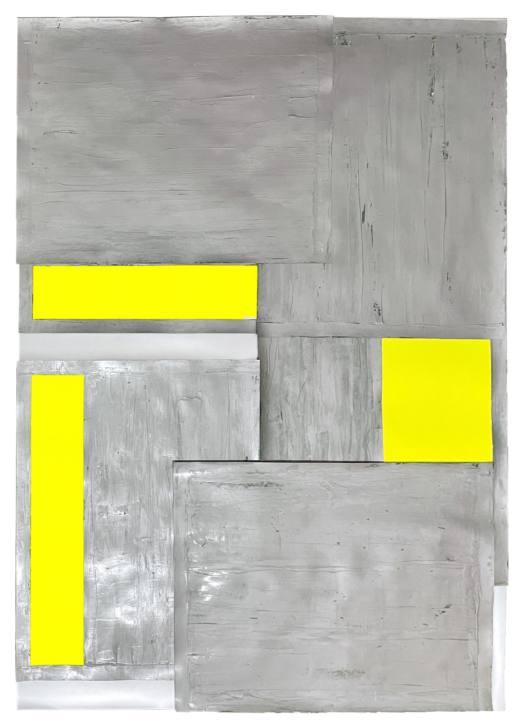 NSEO I, 2020. Técnica mixta sobre cartulinas metalizadas. 149 x 109 x 6 cm